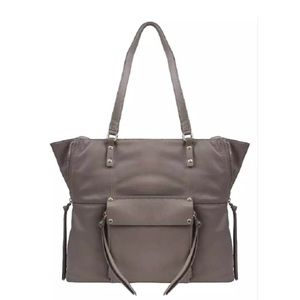 New tote leather bag purse taupe dark beige color